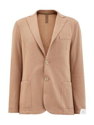 Пиджак в стиле sprezzatura с эффектом необработанного края ELEVENTY. Цвет: бежевый