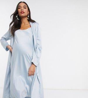 Синее платье миди на бретелях и жакет с драпировкой Maternity-Синий Queen Bee