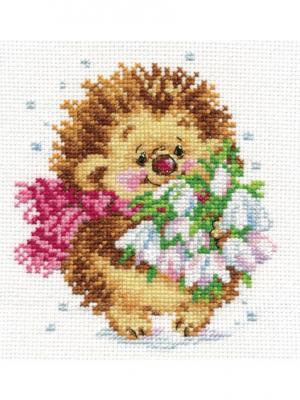 Набор для вышивания Весенний ежик  11х13 см. Алиса. Цвет: белый, коричневый, светло-коричневый
