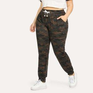 Большие камуфляжные брюки с кулиской SHEIN. Цвет: многоцветный