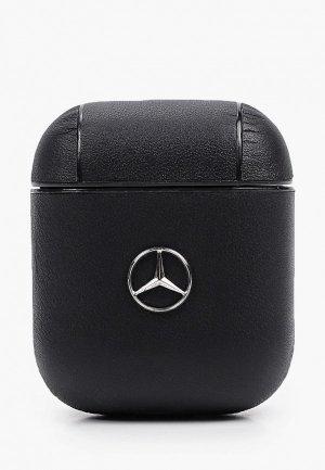 Чехол для наушников Mercedes-Benz Airpods, Genuine leather with metal logo Black. Цвет: черный
