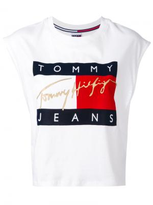 Укороченная майка с логотипом Tommy Jeans. Цвет: белый