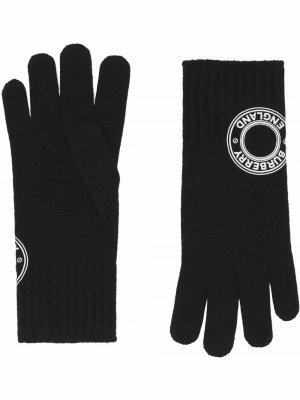 Перчатки с нашивкой-логотипом Burberry. Цвет: черный
