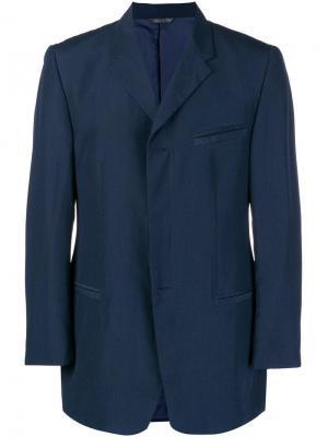 Классический пиджак прямого кроя Versace Pre-Owned. Цвет: синий
