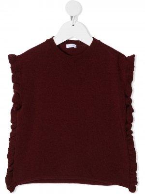 Пуловер с оборками Il Gufo. Цвет: красный