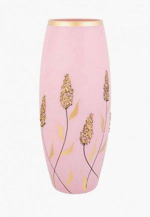 Ваза Elan Gallery 11х11х26 см Золотые колосья на розовом. Цвет: розовый