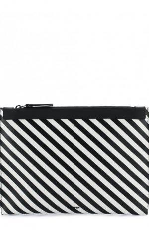 Кожаный футляр для документов на молнии Lanvin. Цвет: черно-белый