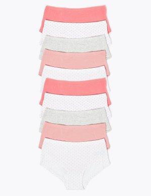 Хлопковые трусы-шортики однотонные и в горошки (10 шт.) Marks & Spencer. Цвет: мульти