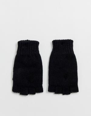 Черные перчатки без пальцев Weekday. Цвет: зеленый
