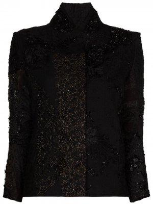 Жакет Haya из переработанного шелка с вышивкой By Walid. Цвет: черный