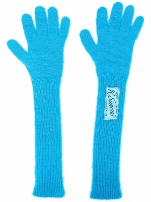 Logo-patch wool-blend gloves Raf Simons. Цвет: синий
