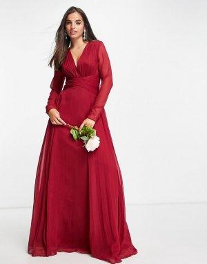 Ягодное платье макси для подружки невесты с присборенной талией, юбкой со складками и длинными рукавами Bridesmaid-Красный ASOS DESIGN