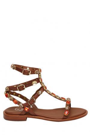 Коричневые сандалии Passion с цветными камнями ASH. Цвет: коричневый