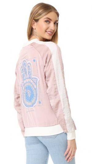 Бомбер Dreamer с изображением хамсы Spiritual Gangster. Цвет: розовый
