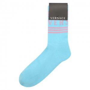Хлопковые носки Versace. Цвет: синий
