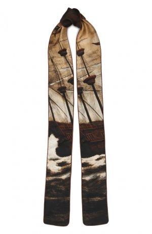 Шелковый шарф-бандо Burberry. Цвет: бежевый