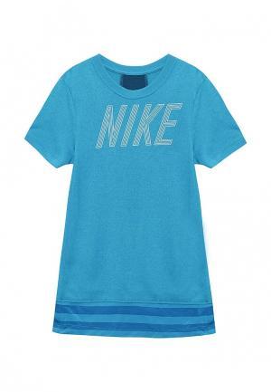 Футболка спортивная Nike Girls Dry Training Top. Цвет: синий