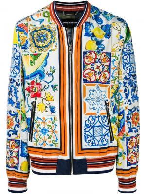 Куртка-бомбер с принтом Majolica Dolce & Gabbana. Цвет: синий