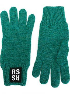 Перчатки с логотипом Raf Simons. Цвет: зелёный