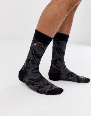 Черные носки с камуфляжным принтом AAPE By A Bathing Ape. Цвет: черный