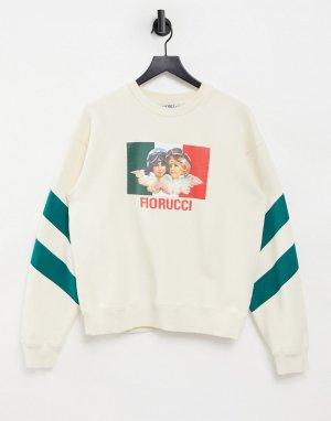 Белый свитшот с логотипом и двумя ангелами-гонщиками (от комплекта) Fiorucci