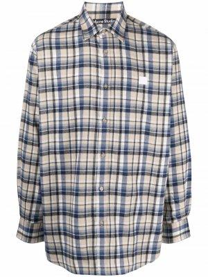 Фланелевая рубашка в клетку Acne Studios. Цвет: нейтральные цвета