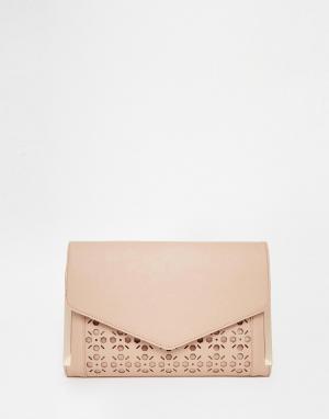 Клатч-конверт с лазерным узором ASOS. Цвет: румяный розовый