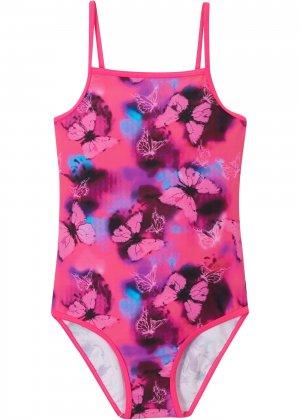 Слитный купальник для девочки bonprix. Цвет: ярко-розовый