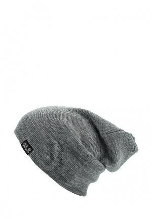 Шапка Jack Wolfskin RIB HAT. Цвет: серый
