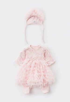 Комплект для крещения Choupette Платье-комбинезон и чепчик. Цвет: розовый