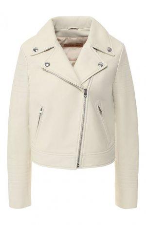 Кожаная куртка с косой молнией Yves Salomon. Цвет: кремовый