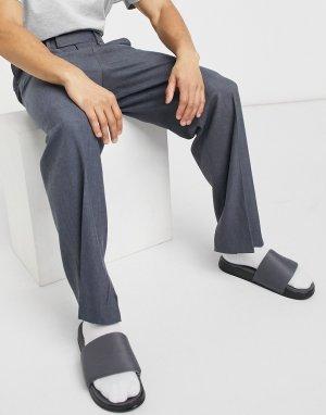 Серые строгие широкие брюки с разрезами по бокам -Серый ASOS DESIGN