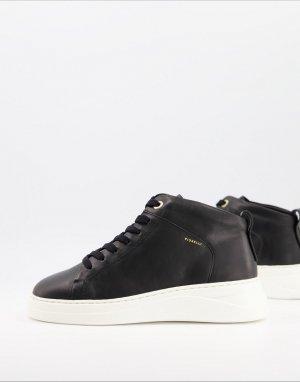 Высокие кожаные кроссовки черного цвета Pippa-Черный Fiorelli
