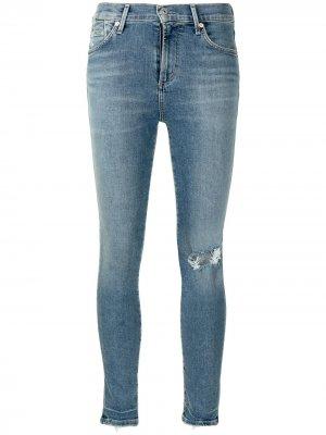 Укороченные джинсы скинни Citizens of Humanity. Цвет: синий