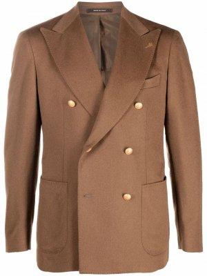 Двубортный пиджак из верблюжьей шерсти Tagliatore. Цвет: коричневый