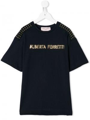 Футболка с принтом логотипа Alberta Ferretti Kids. Цвет: синий