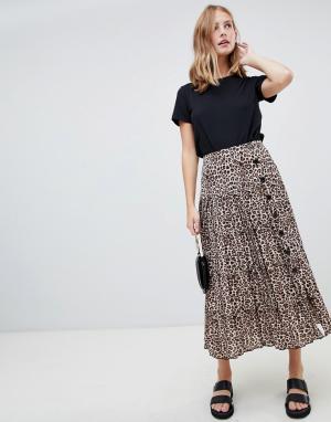 Плиссированная юбка миди с пуговицами и леопардовым принтом ASOS DESIGN