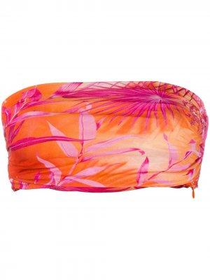 Топ-бандо с принтом Versace. Цвет: оранжевый