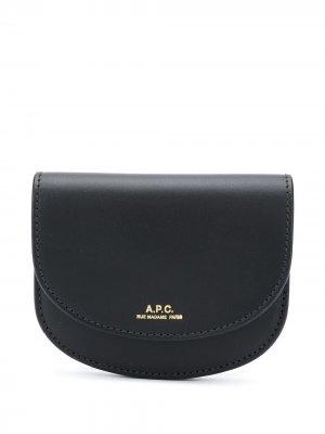 Кошелек с гравированным логотипом A.P.C.. Цвет: черный