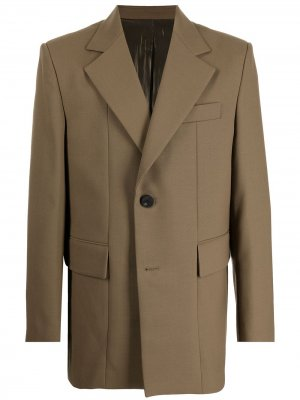 Однобортный пиджак строгого кроя Wooyoungmi. Цвет: коричневый