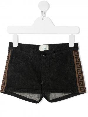 Logo-trim denim shorts Fendi Kids. Цвет: черный