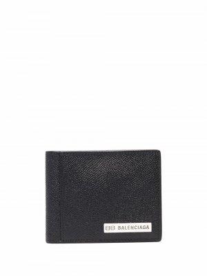 Фактурный картхолдер с логотипом Balenciaga. Цвет: черный