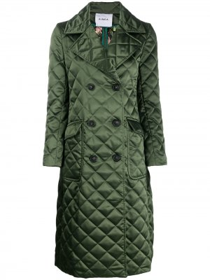 Diamond quilt double-breasted coat Ainea. Цвет: зеленый