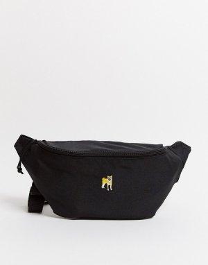 Черная сумка-кошелек на пояс с вышивкой собаки -Черный ASOS DESIGN