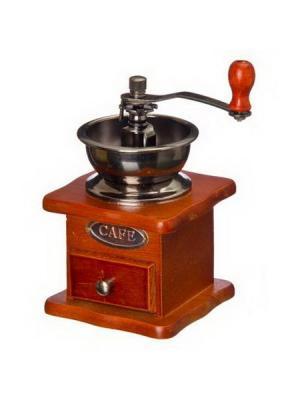Кофемолка с деревянным основанием, металл, 10x10x17,5см Vetta. Цвет: белый
