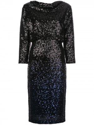 Платье миди с пайетками Badgley Mischka. Цвет: черный