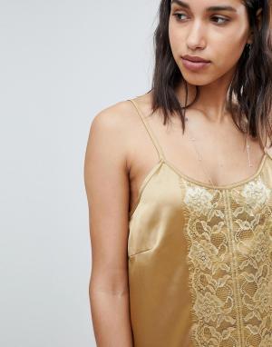 Платье-комбинация с кружевом -Золотой Sofie Schnoor