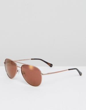 Солнцезащитные очки-авиаторы цвета розового золота Nova Ted Baker. Цвет: золотой