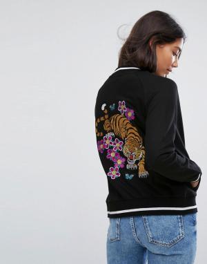Бомбер с вышивкой тигра на спине -Черный Brave Soul