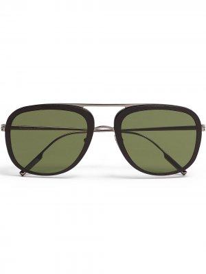 Солнцезащитные очки-авиаторы Ermenegildo Zegna. Цвет: зеленый